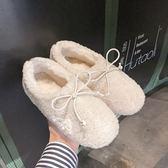 豆豆鞋 秋冬新款網紅白色毛毛鞋女冬外穿羊羔毛一腳蹬平底單鞋豆豆鞋 伊蘿鞋包專賣店