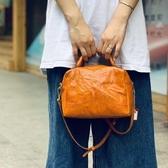 真皮手提包-植鞣牛皮純色枕頭包女單肩包3色73xo12[時尚巴黎]