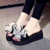 涼拖鞋女夏季韓版高跟家居厚底楔形厚底可愛時尚夏天防滑室內外穿拖鞋 草莓妞妞