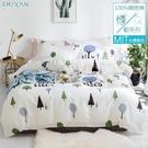 《竹漾》台灣製100%精梳棉雙人四件式舖棉兩用被床包組-文青日常