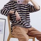 【E565-0016】日森系休閒條紋長袖-(4色)連帽針織上衣(SIZE約:L~XL)☆貝兒