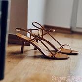 高跟涼鞋 貓跟細帶法式涼鞋仙女風2021夏新款網紅細跟高跟鞋一字帶小跟女鞋  新品
