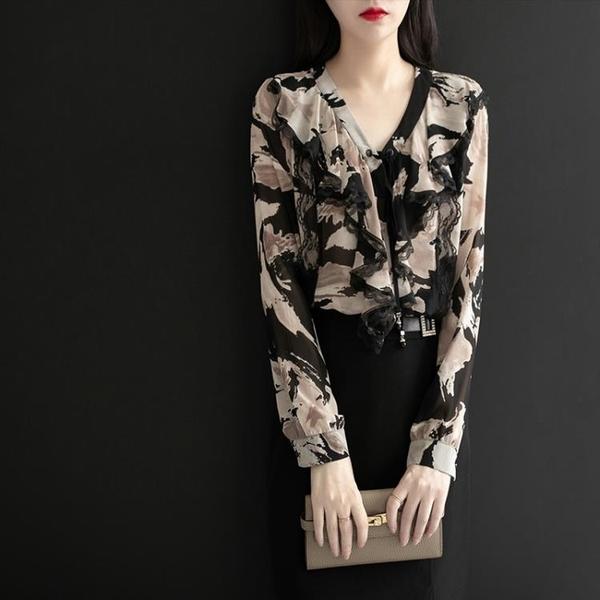 襯衫 2021新款時尚v領上衣女碎花雪紡衫長袖氣質蕾絲襯衫洋氣小衫【牛年大吉】