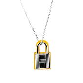 【HERMES】O'Kelly 銀色鎖頭造型吊墜項鍊(小)(銀色/那不勒斯黃) H078852CK9O