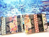零錢包手拿包拉鍊包 粉橘矢車菊布包 ( 藍、黑 ) 純手工製作