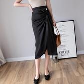 【YPRA】2020夏季新款時尚高腰顯瘦包臀中長裙不規則開叉過膝打底半身裙女