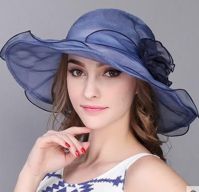 真絲遮陽帽戶外防曬太陽帽可折疊大簷沙灘帽   -charle004