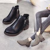 粗跟馬丁靴女靴 秋側拉鏈圓頭短筒靴子學生中跟單靴短靴