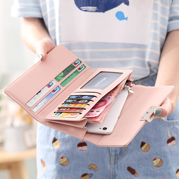 長夾/手拿包 2020新款時尚日韓版女士錢夾簡約可愛學生百搭純色長款大容量錢包