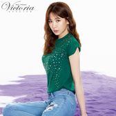 Victoria多元貼片袖口剪接變化短袖T-女-綠色/白色-S-L