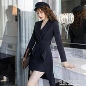 年秋季新款氣質收腰顯瘦不規則職業黑色長袖洋裝兩件套女裝 雙十一全館免運