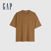 Gap男裝 純棉基本款圓領短袖T恤 699888-棕色