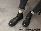 FINDSENSE品牌 四季款 新款 日本 男 高品質 真皮靴 工裝靴 做舊 圓