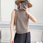 無袖T恤-褶皺高領寬鬆休閒高彈力女上衣4色73zs9【巴黎精品】