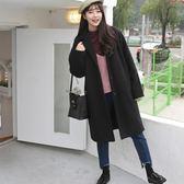 毛呢大衣秋冬韓版修身女裝毛呢外套百搭時尚大碼中長款呢子大衣「輕時光」