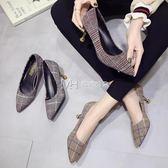 高跟鞋  尖頭高跟鞋細跟單鞋女百搭韓版格子布面淺口貓跟鞋子  瑪奇哈朵