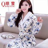 瓊瑩睡衣睡袍女秋冬季新款法蘭絨長袖長款浴袍保暖浴衣居家服