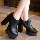 短靴  歐美明星厚底粗高跟踝靴裸靴【S7...