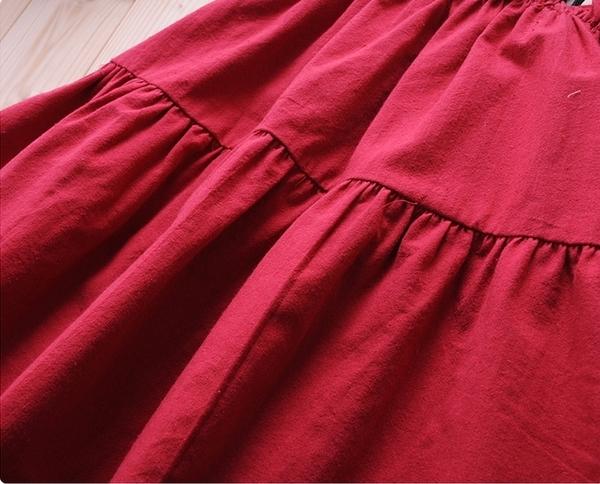 ☆棒棒糖童裝☆(S60413)夏女童酒紅色平織吊帶洋裝 3-13