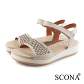 SCONA 蘇格南 真皮 舒適簡約雷射涼鞋 米色 31076-1