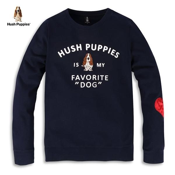 Hush Puppies 上衣 女裝植絨字母刺繡狗愛心緞面圖案上衣