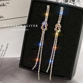韓國東大門銀針水晶不對稱流蘇耳飾