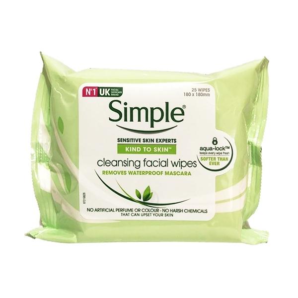 英國 Simple 溫和卸妝棉 每包25抽 (敏感肌) Cleansing Facial Wipes