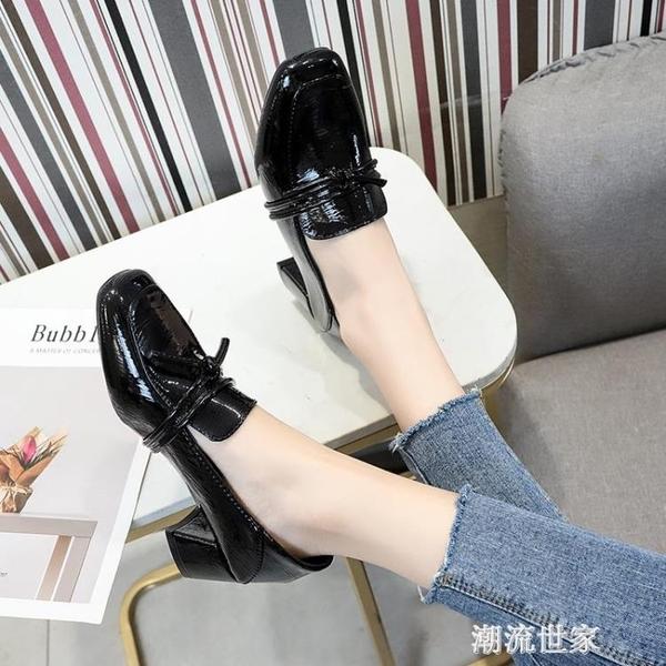單鞋女粗跟春秋季新款方頭中高跟ins潮鞋子時尚漆皮英倫風小皮鞋『潮流世家』