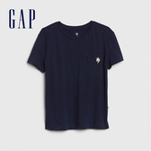 Gap女童棉質童趣刺繡圓領短袖T恤538278-海軍藍色
