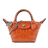【南紡購物中心】LONGCHAMP LE PLIAGE CUIR系列鱷魚紋牛皮鏈帶斜背水餃包(超迷你/珊瑚紅)