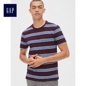 Gap男裝 條紋口袋圓領短袖T恤 440758-白藍細條紋