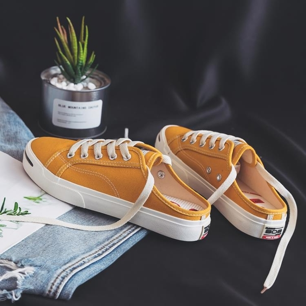 一腳蹬懶人鞋 半拖帆布鞋女學生夏季新款無後跟懶人鞋韓版一腳蹬小白鞋百搭布鞋 薇薇