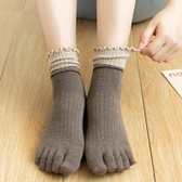 五指襪女純棉秋冬高腰拼色中筒堆堆潮襪日繫可愛鬆口孕婦分趾襪子 快速出貨
