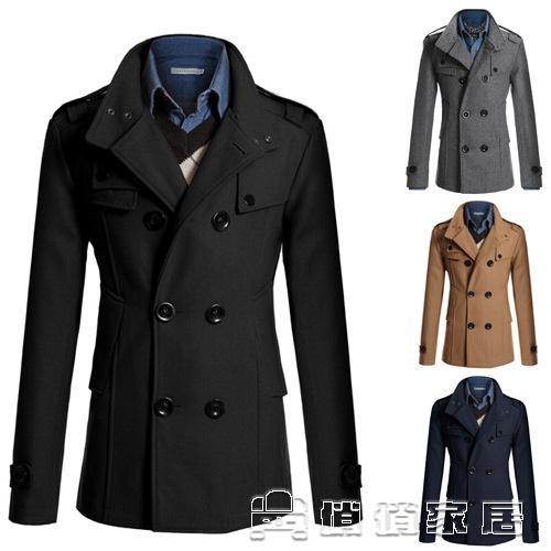 風衣男 速賣通新款男士大衣男修身中長款呢子風衣男外套N3 16新年優惠
