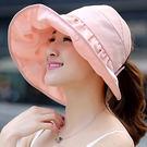 帽子女士遮陽帽夏天韓版潮防曬大沿沙灘防曬太陽帽可折疊涼帽