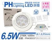 PHILIPS飛利浦 LED 明皓 RS023B 6.5W 2700K 36度 黃光 全電壓 9.5cm 投射燈 崁燈_PH430537