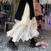 網紗半身裙 裙子2020夏季新款韓版純色百搭高腰中長款小個子網紗半身裙女 LW1184