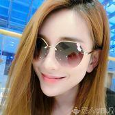 太陽眼鏡墨鏡女潮款眼鏡新款圓形個性太陽鏡女士圓臉韓版大框 潮人女鞋