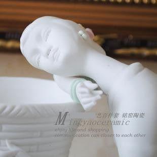 陶瓷工藝品 藝術擺件 睡簍少女