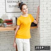 【JEEP】女裝拼接圓領T恤-黃色