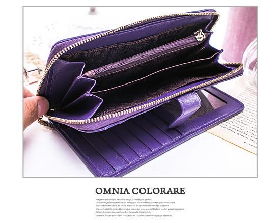 OMC - 專櫃立體抓皺感單拉鍊多卡真皮長夾-時尚紫