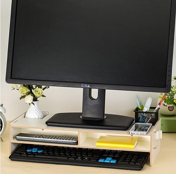 加厚5mm多功能DIY木質拼裝 電腦螢幕架 抽屜款 收納 置物 鍵盤 增高 托高【R01-1】MY COLOR