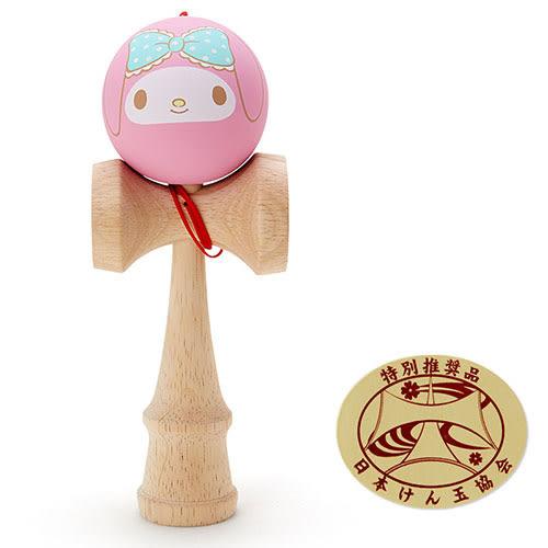 《Sanrio》美樂蒂可愛大臉木製劍玉球(粉藍大緞帶)_972568