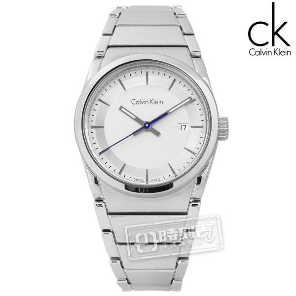 CK / K6K33146 / step 歐美潮流極簡知性日期不鏽鋼手錶 銀白色 30mm
