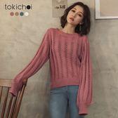 東京著衣-高質感多色透膚洞洞針織上衣(182072)