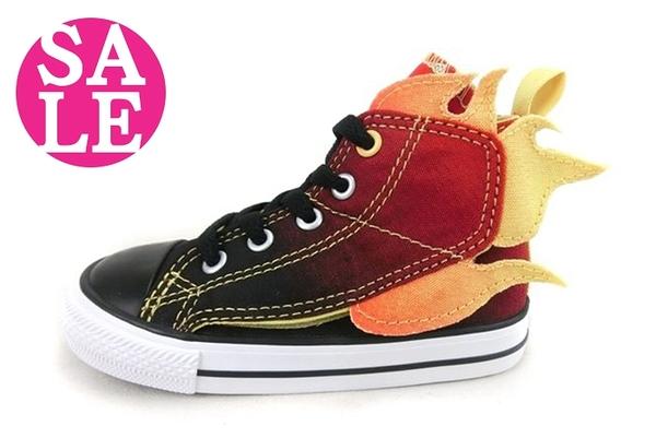 All STAR★Converse 小童高筒帆布鞋 火焰漸層休閒鞋 零碼出清 G9879#黑◆OSOME奧森鞋業