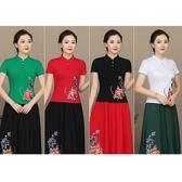 民族風中式立領上衣 修身中大尺碼繡花短袖棉T恤中國風