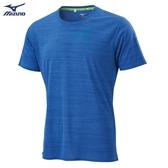 MIZUNO 男裝 短袖 上衣 T恤 慢跑 路跑 吸汗快乾 反光燙印 藍【運動世界】J2TA000522