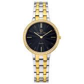 Olympia Star奧林比亞之星 時尚水波紋晶鑽腕錶-雙色(黑)/34mm