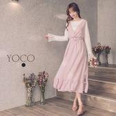 東京著衣【YOCO】南法恬氛V領下襬綁帶魚尾背心長洋裝-S.M.L(180423)